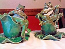 Two Ceramic Frogs Playing Musical Instruments Guitar Accordian Candle Holders