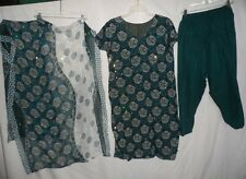 Green Sequined Printed 3Pc Salwar Kameez Set Outfit Women Size L or M