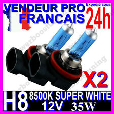 KIT DE 2 AMPOULE H8 35W LAMPE HALOGENE FEU PHARE XENON GAZ SUPER WHITE 8500K 12V