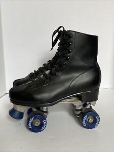 CHICAGO Roller Skates Black Leather US Men Sz. 8 w/ Blue Wheels WORN TWICE