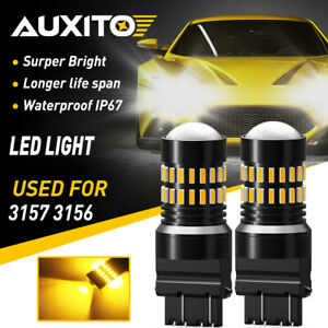 AUXITO 2X 1200LM 3157 3156 Amber Yellow 48SMD Turn Signal Lights LED Bulbs EXD