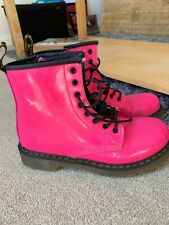 DR MARTENS PINK PATENT BOOTS 8 HOLE SIZE UK 3