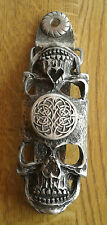 CELTIC SKULLS DOOR KNOCKER (EXCLUSIVE DESIGN) Solid English Pewter  FREE UK POST