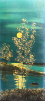 Impressionist oil painting night river landscape trees signed