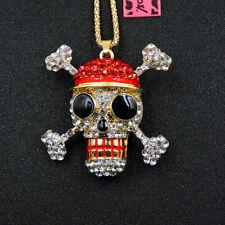 Betsey Johnson fashion Enamel Crystal red Skull pendant necklace