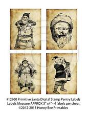 Prim Grungy Vintage Style Santa Claus Belsnickle Digital Stamp Labels #12960