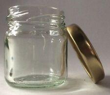 125 x 41ML MINI ROUND GLASS JAM JAR  & GOLD LIDS   -  JAM, PICKLE, CHUTNEY