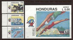 HONDURAS 1991, SPORTS: PAN AMERICAN GAMES, Scott C826-C829, 3 + S/S,  MNH