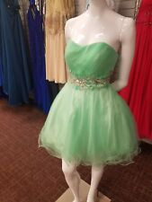 Lime Green Embellished Short Prom Party Cocktail Evening Dress medium
