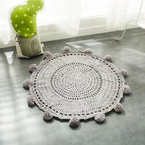 Large Round Rug Pom Prom Ball Crochet Circle Rugs Carpet Kid Floor Mat Play Mats