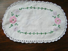 Embroidered Doily Table Linen White Crochet Trim Pik Green 12 x 7 1/2 Inch NICE
