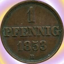 1853 'B' Germany (Hanover) 1 Pfennig Coin