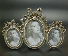 Rokoko Barock Bilderrahmen 3er Fotorahmen drei Fotos Bilder Oval silber Antik