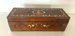 Boite a gant Napoléon III en palissandre Marqueterie de laiton gravé XX siècle