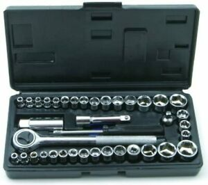 """40pcs Drive Socket Set Universal 1/4"""" & 3/8"""" with Ratchet and Extension Bar"""