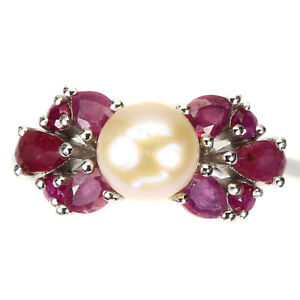 Pear Red Ruby 5x3mm Pearl 14K White Gold Plate 925 Sterling Silver Ring Size 8