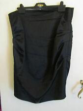 Black Shiny Satin Feel Alexon Evening Skirt in Size 16