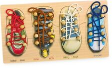 Schuhe binden Schulung der Feinmotorik Lernspielzeug Holz Puzzle 4 Schuhe NEU