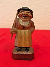 "Vintage Anri? Black Forest? Hand-Carved Wood Troll Gnome Figurine w Stick 3.5"""