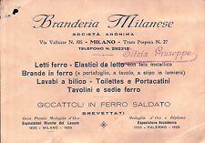 """CARTOLINA PUBBLICITARIA """" BRANDERIA MILANESE """" MILANO LETTI E GIOCATTOLI C5-608"""
