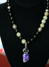 Sterling Silver Charoite Onyx Pendant Beaded Necklace