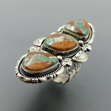 HANDCRAFTED STERLING SILVER AMERICAN GREEN RIBBON TURQUOISE FLEUR-DE-LIS RING