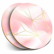 2 x Coasters - Pink Geometric Art Deco Gold Home Gift #24014