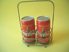 COCA COLA METAL CAN SALT & PEPPER SHAKERS WITH CADDY