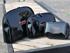 Set of 3 Chanel PU Patent Maquillage Cosmetic Makeup Beauty Bag Pouch
