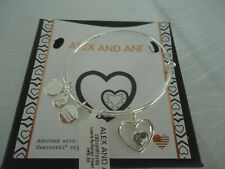 ALEX and ANI HEART IN HEART Shiny Silver Charm Bangle New W/Tag Card & Box