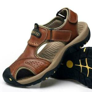 Men's Outdoor Hiking Genuine Leather Sandals Summer Camping Fisherman Shoes MOON