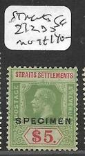MALAYA STRAITS SETTLEMENTS (P0311B) KGV $5.00  SG212B S SPECIMEN  MOG