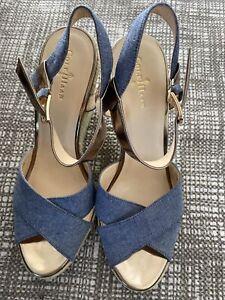 Cole Haan Espadrille Wedge Sandal Womens 8 B Denim Gold Ankle Strap Hart