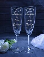 Personalised Champagne Flutes Pair. Personalised Wedding Anniversary Gift
