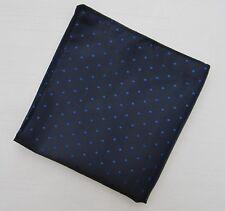 Mens Navy & Blue Pin Dot Silk Satin Pocket Square/Handkerchief/Hankie/Kerchief