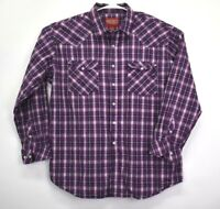 Walls Men's XL Long Sleeve Button Up Western Casual Shirt Plaid Purple White
