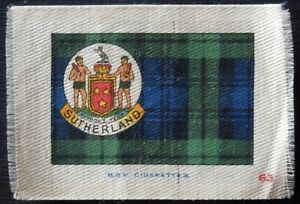SUTHERLAND Clan Tartan Coat of Arms 90 year old SILK card issued 1922