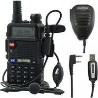 Baofeng UV-5R +Speaker+ USB Cable V/UHF Dual Band Two-way Radio Walkie Talkie