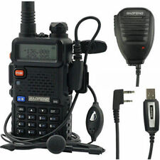 Baofeng UV-5R +Speaker+ USB Cable V/UHF Dual Band Two-way Radio Walkie Talkie