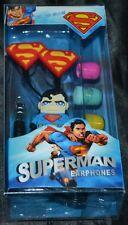 Superman Super Man Headphones Head Phones Earbuds Ear Buds Tablet & Phone NEW