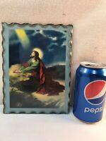 Vtg 20-30's? Glass Metal Back Frame Jesus On The Mt Olives Print Litho Religious