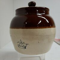 """Vintage USA BEAN POT with lid Blue crown Numbered """"2"""" Stoneware Crock"""