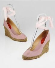 Christian Louboutin Pink Taupe Canvas Strappy Espadrille Wedges Sandals Size 38