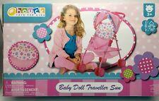 Baby Doll Stroller Pink Flowers Hood Preschool Girls Pretend Play ages 3+ New