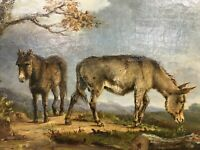 Super late nineteenth century Original Oil Painting of Donkeys in landscape