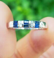 Genuine Blue Sapphire Diamond Wedding Band Eternity 9K Solid White Gold Ring