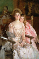 Mother and daughter portrait oil painting wall art printed on canvas L1513