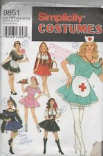 Simplicity 3851 Misses Costumes Nurse, Maid Red Riding Hoood  Skater Size 6 - 12
