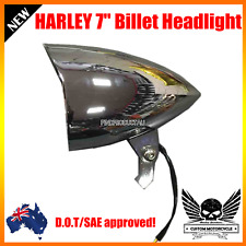 "7"" Chrome billet bullet headlight Harley Sportster XL DYNA softail Bobber dot"