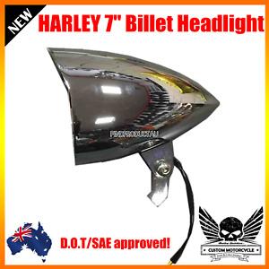 """7"""" Chrome billet bullet headlight Harley Sportster XL DYNA softail Bobber dot"""